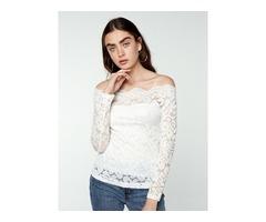 Lace Sheer Off Shoulder Blouse