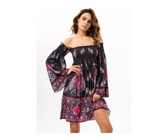 Sexy Women OFF Shoulder Floral Printed Long Horn Sleeve Mini Dresses