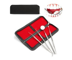 4Pcs Stainless Steel Dental Teeth Cleaning Kit Oral Clean Mirror Scraper Scaler Probe Waxing Carving
