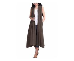 Elegant Women Solid Color Sleeveless Cardigan
