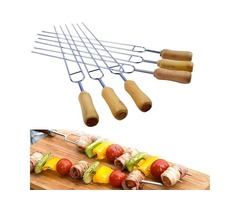 6 Pieces 15.2 Inches U Shape Stainless Steel Barbecue Skewer Wooden Handle BBQ Roast Needle Sticks