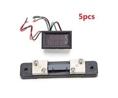 5pcs Mini Digital Blue + Red Led DC Current Meter Volt Meterr With Ampere Shunt