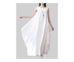 Asymmetrical Solid Color Sleeveless Pocket Cotton Dress