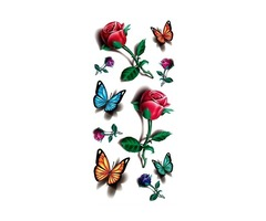 Temporary 3D Butterfly Flower Rose Tattoo Sticker Decal Ladies Body Art