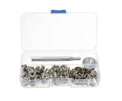 62pcs Stainless Steel Canvas Buckle Quick Snap Fastener Buttons Screws Kits