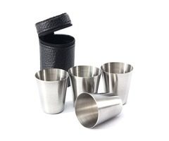 4Pcs Stainless Steel Camping Cup Mug Drinking Coffee Tea With Case
