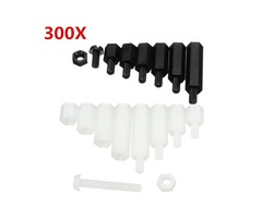 Suleve™ M3NH6 M3 Nylon Screw White/Black Hex Screw Nut Nylon Pcb Standoff Assortment Kit 300pcs