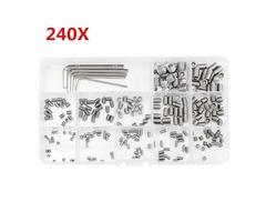 Suleve™ MXSS3 M3/M4/M5/M6/M8 Stainless Steel Socket Cap Screws Wrench Assortment Kit 240pcs