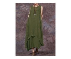 Vintage Sleeveless Solid Color Maxi Dress