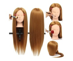 """26"""" Long Hair Training Mannequin Head Model Hairdressing Makeup Practice with Clamp Holder"""
