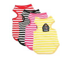 Cotton Striped Small Pet Puppy Dog T Shirt Vest Clothes Summer Apparel Costume | FreeAds.info