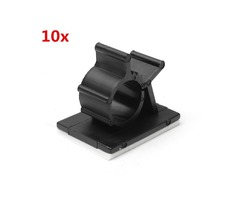 10Pcs Cable Cord Fasteners Holder Adhesive Black Tie Clips Clamp