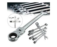 DANIU 6pcs a Set 6mm-12mm Flexible Pivoting Head Ratchet Combination Spanner Wrench Garage Metric To
