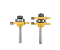2pcs 1/4 Inch Shank Tongue & Groove Router Bit Set 3/4 Inch Stock Woodworking Cutter