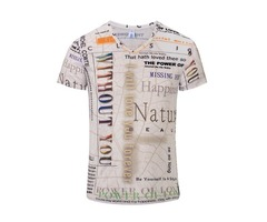 Mens Summer Personalized Letter Printing V-neck Casual Soft T-shirt Tops