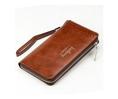 Men Cell Phone Pu Leather Long Wallet Vertical Wallet Coin Pocket Card Holder