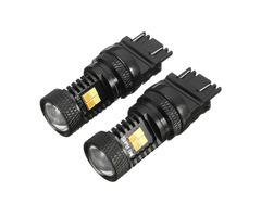 2pcs T25 3030 3157 16SMD Dual Color LED Amber Car Turn Lights White Daytime Running Lights
