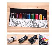 36/48 Holes Canvas Wrap Roll Up Pencil Case Pen Brush Storage Bag