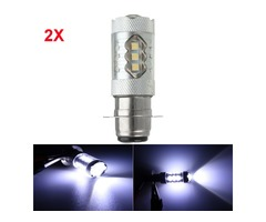 Pair 10-30V PX15D 16LED 80W 6500K Motorcycle Fog Driving DRL Headlight Light Bulb