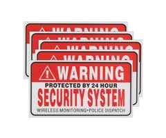 5Pcs Self-adhensive Camera CCTV Sticker Safty Signs Decal Protected by 24 Hour Security System