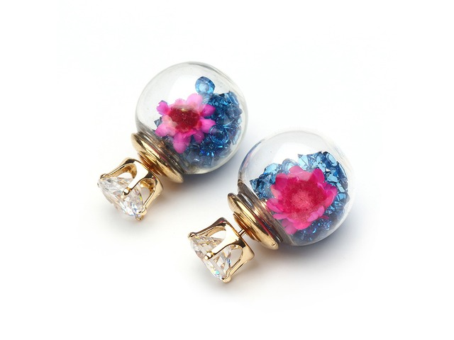 Trendy Colorful Crystal Glass Ball Flower Round Earrings | free-classifieds.co.uk
