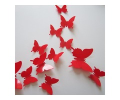 12PCS 12 Colors 3D Glossy Butterfly Wall Sticker Fridge Magnet Home Decor Art Applique