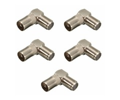 5pcs 90 Degree Right Angled TV Aerial Cable Connector Male Coax Plug to Female Socket