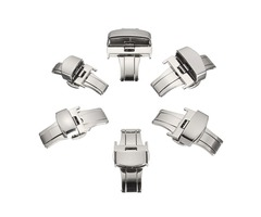12mm-24mm Automatic Double Push Button Fold Deployment Clasp Stainless Steel Folding Buckle