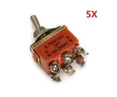 Wendao KN-1322 ON/OFF/ON AC 250V 15A 6 Pins Toggle Rocker Switch 5pcs