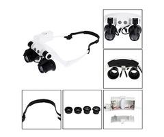 DANIU Portable Head Wearing Magnifying Glass 10X 15X 20X 25X LED Double Eye Repair Magnifier Loupe | Free-Classifieds.co.uk