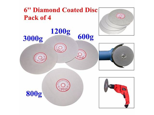 4pcs 6 Inch 600/800/1200/3000 Grit Flat Lap Wheel Lapping Grinding Disc | Free-Classifieds.co.uk