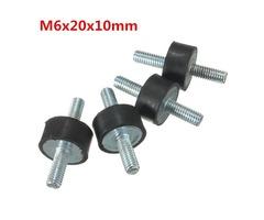 4pcs M6x20x10mm Rubber Shock Absorber Doubles Ends Rubber Mounts Vibration Isolator Mounts