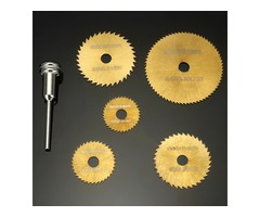 Drillpro SW-B2 6pcs HSS Circular Saw Blades Set Titanium Coated Saw Blades for Dremel Rotary Tools