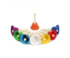 8PCS Handbell Hand Bell 8-Note Metal Children Art Musical Toy Percussion Instrument