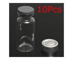 10Set 10ml Vials Bottles with Stopper Caps for 20MM Hand Crimper Seal Ring Machine
