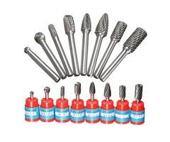 Drillpro 8pcs 1/4 Inch Shank Carbide Burr Set Rotary Cutter Files CNC Engraving Tool
