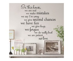 60X56CM In This House English Letter Proverbs Wall Stickers Home Decoration
