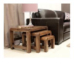 Baumhaus Shiro Walnut Nest of 3 Coffee Tables | FDUK