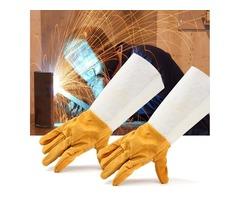 Soldering Welding Work Soft Cowhide Leather Plus Gloves